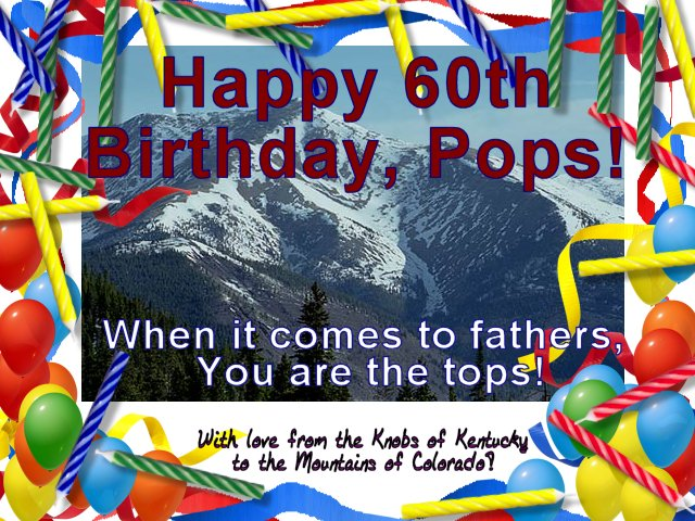 Birthday card with image of Taylor Mountain, Colorado