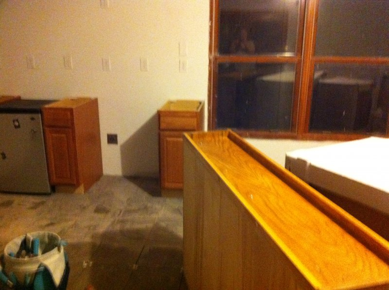 6 - Placement of cabinets begins (at least the first time)