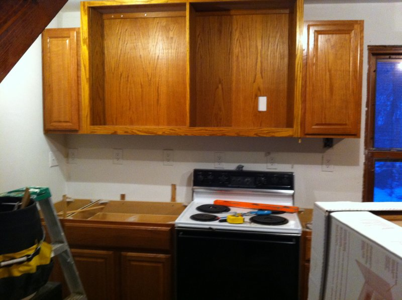 9 - Fast forward to all the hanging cabinets hung! Woot!