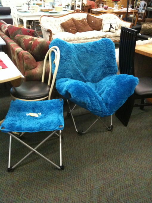 Cookie Monster has been skinned and made into a Chair and Ottoman!