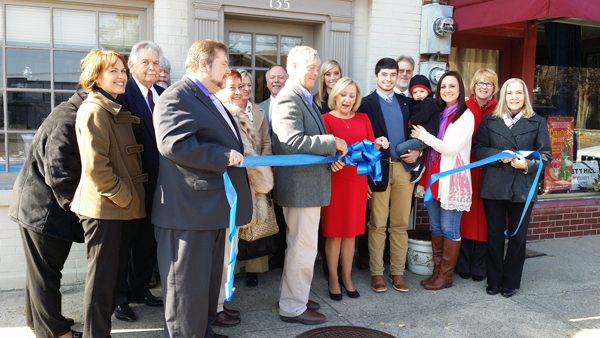 Lynn Taylor Tye Cuts the Ribbon at the Grand Opening for her Danville, KY Insurance Agency.